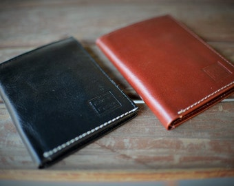Men's Leather Tri-Fold Wallet Genuine Leather Black and Rich Tan Handmade Leather by Ebb & Flow