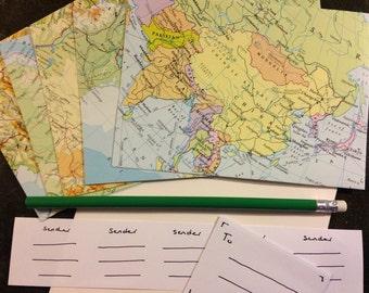 Vintage Map Letter Writing Set. Handcrafted