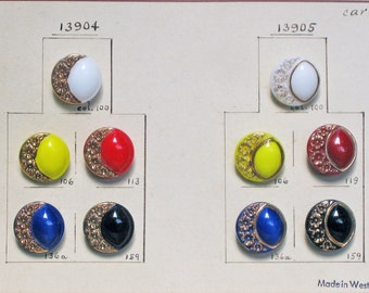 10 Glass Buttons with Gold Luster - Made in Western Germany - Vintage Salesman's Sample Card #44