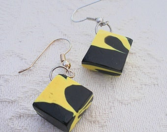 Yellow and black earrings,  chunky lozenges, drop earring, black yellow dangle, unique clay  crafts, gift item, ladies present, EtsyGift