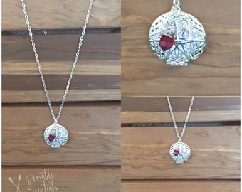 Essential Oil Diffuser Necklace, Silver 27mm, Birthstone and Initial