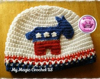 Democrat Crochet Hat