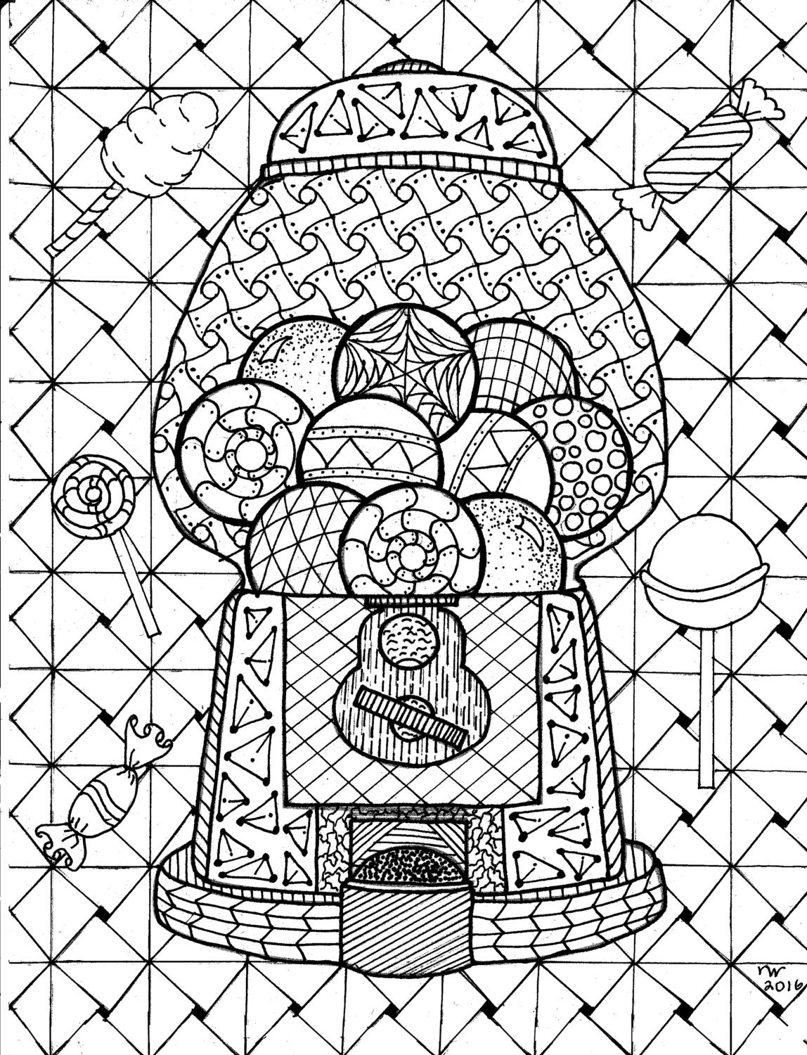 Gumball Machine Zentangle Coloring Page Digital Coloring pdf