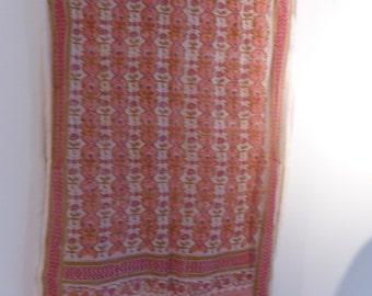 Pink cotton scarf hand block print