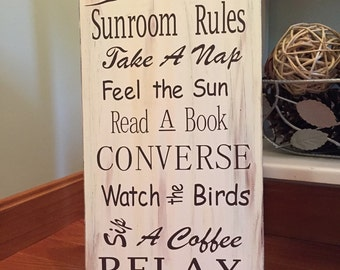 Sunroom Rules Wood Sign Home Decor Porch Sign