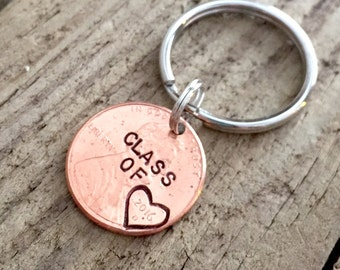 Class of 2017, Hand Stamped Graduation Gift, Personalized Custom Penny Keychain for Graduate, High School, College, University, Good Luck