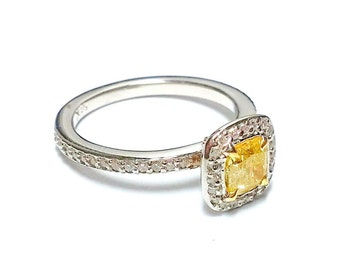 1.07ct Fancy Intense Yellow Diamond Engagement Ring 14K Canary SI2 All Natural