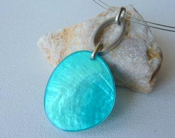 Silver Guilloche Modernist Turquoise Color Pendant, Vintage Artistic Necklace 70's, Mod Blue Iridescent Enameled Pendant,Retro Necklace