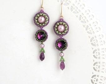 Long drop earrings, Purple crystal earring, Purple earrings, Long earrings, Purple drop earrings, Long beaded earrings, Long dangle earrings