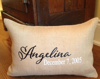 Personalized Pillow; Burlap Pillow; Birth Date Pillow; Name and Date Pillow; Personalized Wedding Pillow; Custom Pillow; Name Pillow; Custom