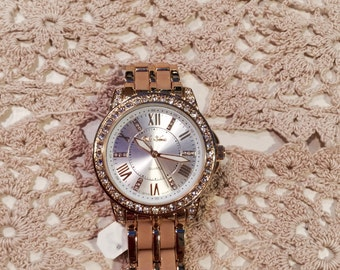 Gold & Brown Bling Watch