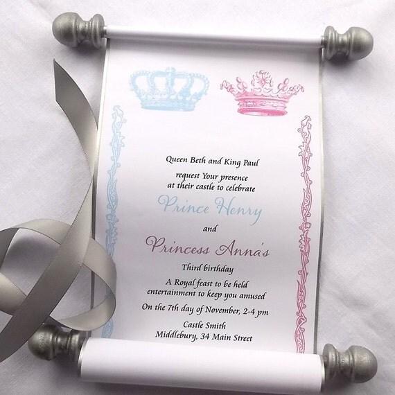 Royal twins birthday party invitation scrolls prince and – Princess Scroll Birthday Invitations