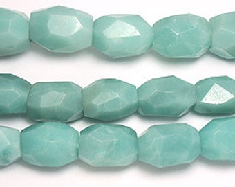 Amazonite faceted nugget bead strand