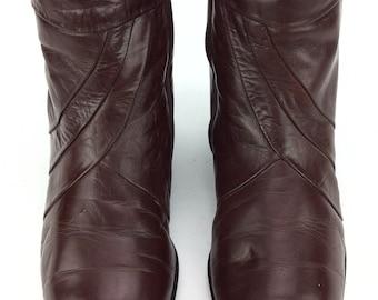 Men's Vintage Stacy Adams Brown Leather Zipper Ankle Beatle Boots Sz. 8 1/2