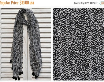 VALENTINES SALE SALE Black and White Scarf, Long chiffon scarf, Black print scarf, Fashion scarf, Summer Scarves, Gift Ideas, Valentine Gift