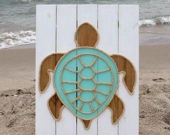 Handmade Turtle with Rope© Beach Pallet Art Coastal Decor Rope Art Turtle Art Pallet Art
