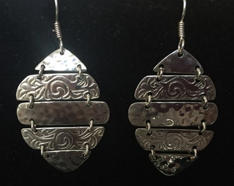 Pendientes-Aretes silver carved-sterling 925 silver earrings 15% off Promo Code HOLIDAY15 limited time