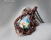 Wire wrapped pendant, Labradorite pendant, wire wrap jewelry, copper jewelry, girlfriend gift, gemstone necklace, copper pendant, gift ideas