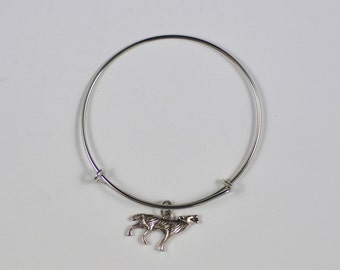 Wolf Pack , Silver Wolf Charm Bracelet, Lone Wolf  Jewelry, BFF Gift