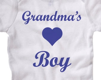 Grandma or Grandpa's Boy, grandparents grandchild love, american apparel onesie family baby onesie newborn infant gift shower toddler shirt