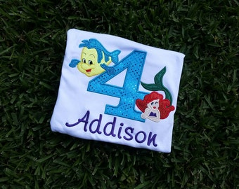 custom personalized disney little mermaid ariel flounder inspired birthday shirt