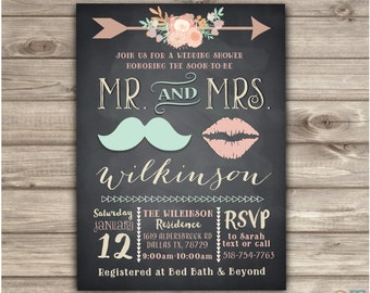 Mr. and Mrs. Wedding Shower Invitations Rustic simple Wedding couples Chalkboard Shower Digital Download Printable Wedding Invitations NV506