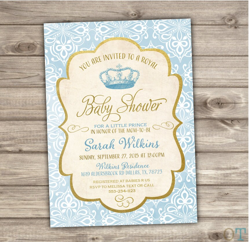 royal baby shower invitations prince blue and gold vintage
