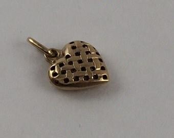 Gold basket weave heart pendant
