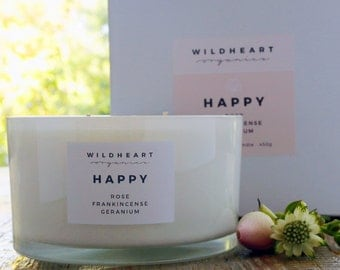 Valentine Aromatherapy Candle  - Rose & Frankincense Soy Candle, 100% natural