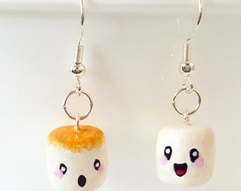 Miniature Kawaii Happy and Sad Mashmallow Earring with Silver Plated or Sterling Silver your choice