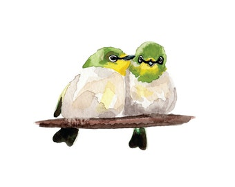 Blue Winged Warbler Love Birds Watercolor