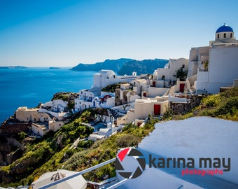 Santorini Greece Photograph, Greek Island, Greece, Oia, Travel, Landscape, Blue Sky, Town, Traditional, Print, Wall Art,