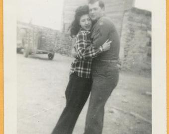 Original Vintage Snapshot Found Photo Vernacular Photo Dreamy Like 1940s Woman Bouffant Hair Couple Military Man Hug Embrace -A984