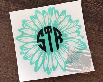 Gerbera Daisy | Gerber Daisy Decal | Flower Decal | Flower Monogram | Gerber Daisy Monogram | Personalized Flower | Yeti Decal | Car Decal