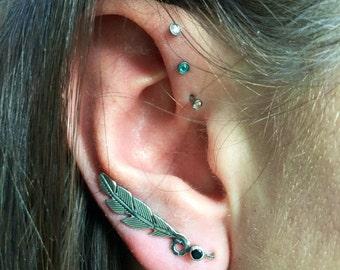 Feather earring, feather ear climber, feather, ear climber