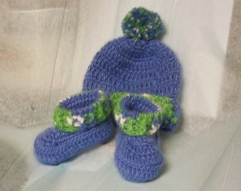 Blue Softy Beanie and  Booties 0 to 3 months