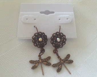 Copper Dragonfly Pierced Earrings/Copper Key Earrings