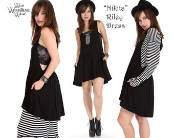 Black Boho Dress/Top/Open Sides Mini Dress/Nikita RILEY Dress/Top with Pockets