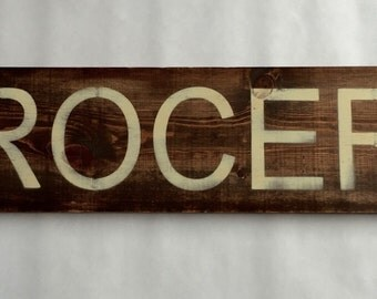 Wooden Kitchen GROCERY Sign