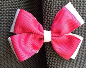 hair bow, hot pink bow, big hair bow