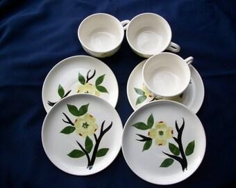 Dixie Dogwood Joni Cups and Saucers, Vintage Dinnerware, Mid-Century