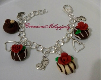 Romantic bracelet silver jewelry with polymer clay pendants