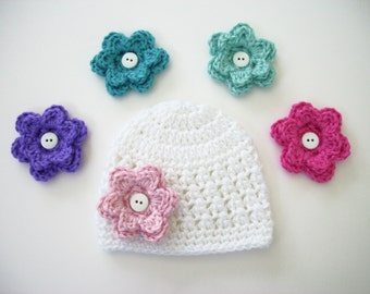 Crochet Baby Hat, Choose 5 Flowers, Newborn Hat, Baby Girl Hat, Baby Shower Gift, Newborn Photo Prop, Newborn Beanie, Toddler Hat, Baby Girl