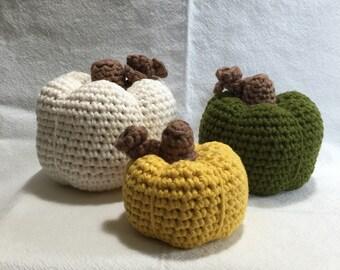 Crocheted Pumpkins Set of 3