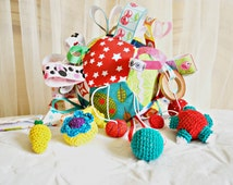 Ball, baby, quiet  ball, rainbow patchwork ball, sensory toy, fabric block, babyball, play ball,  rattle, crochet ball ,taggie ball,