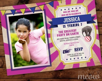 Vintage Circus Photo Invites CARNIVAL Ticket Invitations Girls Pink Navy Twins Image Party INSTANT DOWNLOAD Editable Personalize Printable