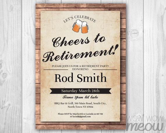 Cheers To Retirement Invitation Beers Retired Invite