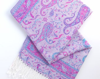 SALE! Pink, blue and white paisley pashmina scarf