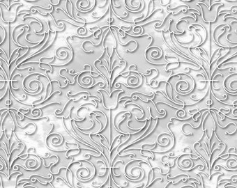 """Light Pewter SCROLL Christmas Fabric/""""Christmas Dreams"""" collection 24557 -K"""