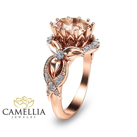 unique gold morganite ring 14k gold engagement ring